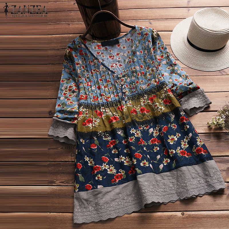 b67a14e51ee ZANZEA 2018 Autumn Women V Neck 3 4 Sleeve Blouse Casual Vintage Floral  Printed Cotton