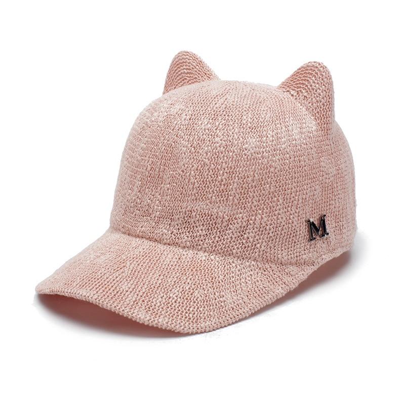 e581c1a7382 2018 Spring Summer Fashion Devil Hat Cute Cat Ears Caps Women Hats Women s  Baseball Caps Beret Breathable sun Cap Equestrian Hat-in Baseball Caps from  ...
