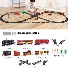 Simulation Electric Track Train Building Blocks Classical Locomotive Model Toy LED and Sound Retro Steam Train Toy For Children стоимость