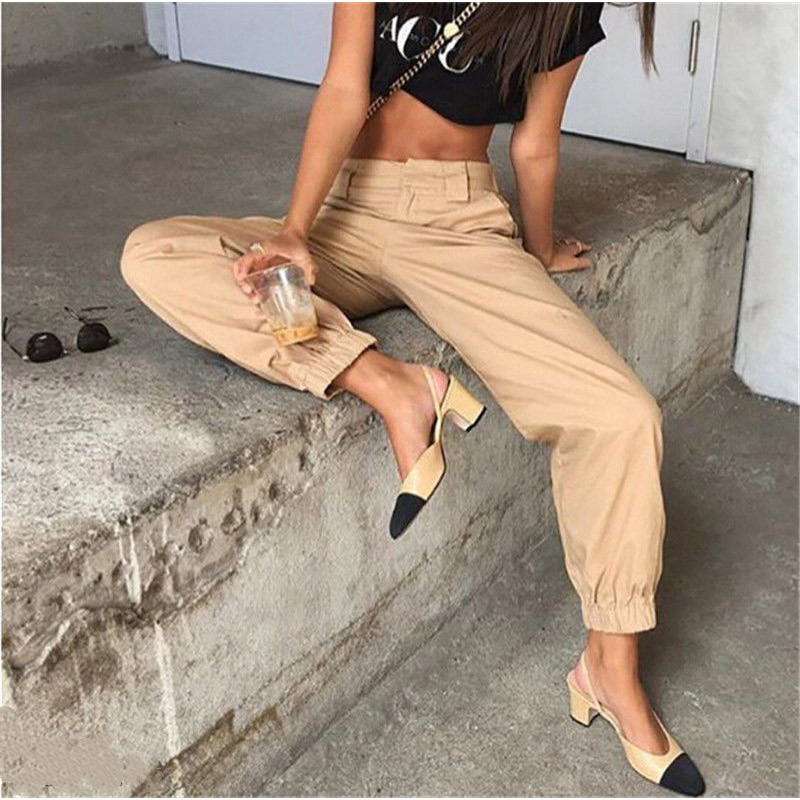 Women's high waist cargo trousers cotton pants solid punk casual loose long sports fashion plus size 6