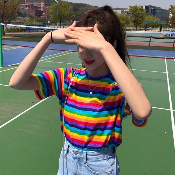 2020 Female Korean Harajuku Casual Loose Rainbow Striped T Shirt Women's T-shirts Tops Japanese Kawaii Ladies Clothes For Women