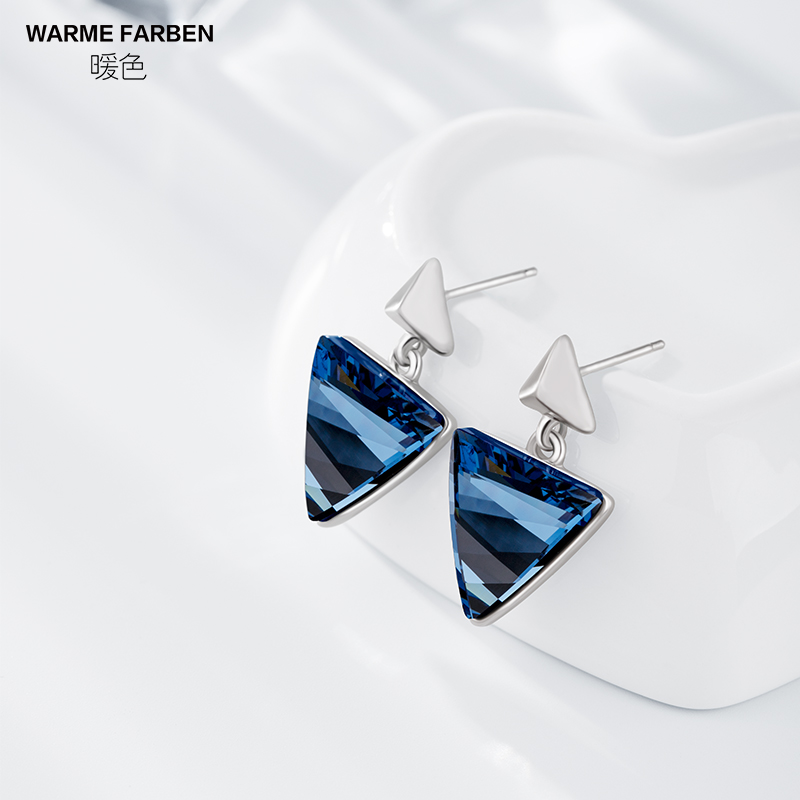 Women Drop Earrings Fashion Ear Jewelry Elegant Triangle Crystal Dangle Earrings Geometric Party Earring Brincos Gift for lady triangle round drop earrings