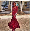 Customer Made Rose Flower Mermaid Long Evening Dresses Elegant Long Sleeves Red Party Gowns Nice Appliques Vestido De Festa