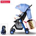 Luz carrinho de bebê dobrável guarda-chuva carro de quatro rodas carrinho de bebê carrinho de criança portátil 12 cores