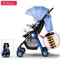 Plegado luz cochecito de bebé niño paraguas coche de cuatro ruedas del cochecito de bebé portátil 12 colores
