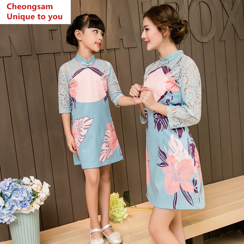 Family look mother daughter dresses clothes chinese style cheongsam wear half sleeve lace mom and daughter dress clothing