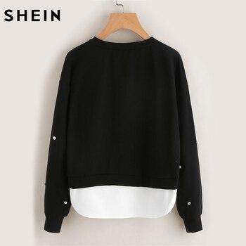 SHEIN Sweatshirt Woman Pearl Beading 2 In 1 Sweatshirt Autumn Women Sweatshirt Black Long Sleeve Elegant Pullovers 1