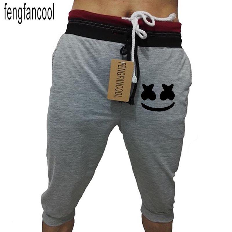 fengfancool brand-clothing lightweight mid waist Smile print sweatpants men sweat pants fashion leggings jogger men