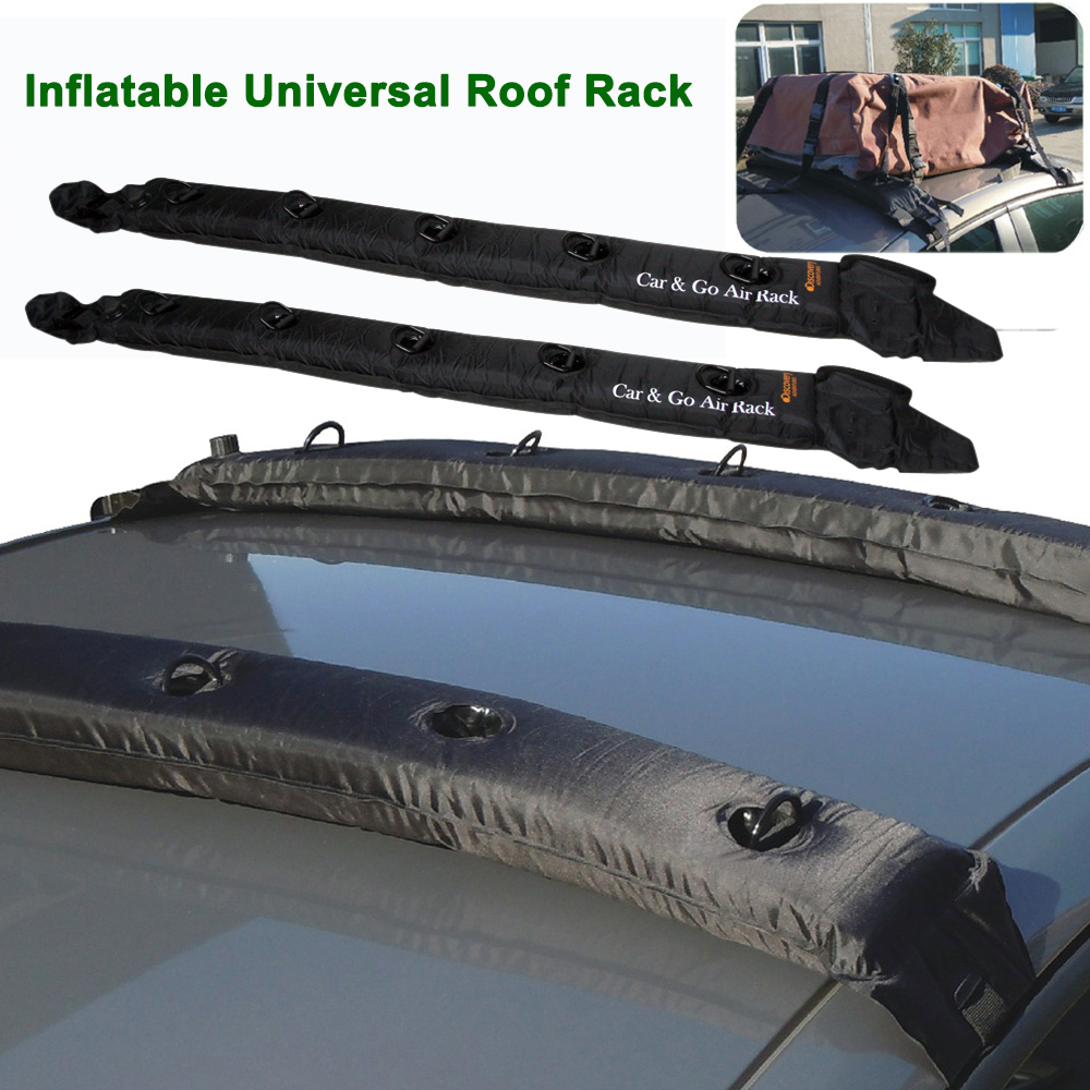 Inflatable Universal Roof Top Rack Soft Luggage Carrier Travel Touring For Car Kayak 2Pcs black color top roof rails rack luggage carrier bars for mitsubishi asx outlander sport 2013 2014 2015 2016