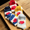1Pair/lot New Striped Lovely Pattern Socks For Women Girls Cute Socks Fashion Red Blue Yellow Grey Sox Calcetines Mujer