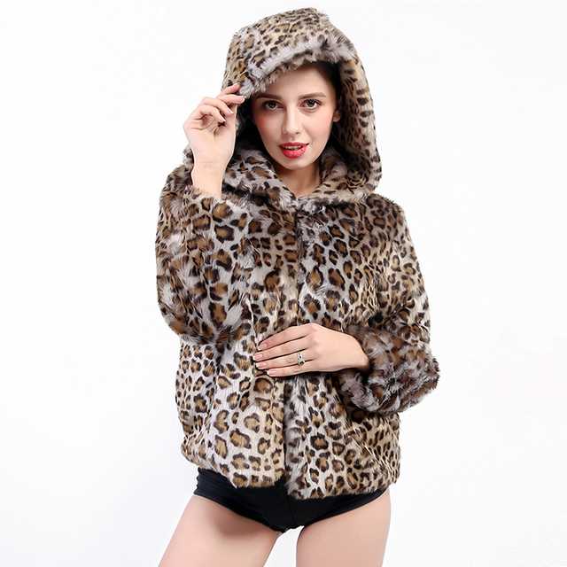 9361d8a717a 2018 Women Hooded Faux Fur Coat Leopard Thicken Warm Winter Hood Jacket  Fashion Outwear Short jackets Casaco De Pele Falso PC299