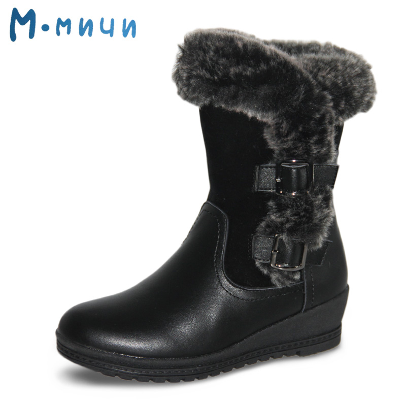 MMNUN Russian Famous Brand Women's Leather Boots Warm Shoes for Women Black Winter Boots for Girls Men Winter Shoes Plus brand winter hat knitted hats men women scarf caps mask gorras bonnet warm winter beanies for men skullies beanies hat