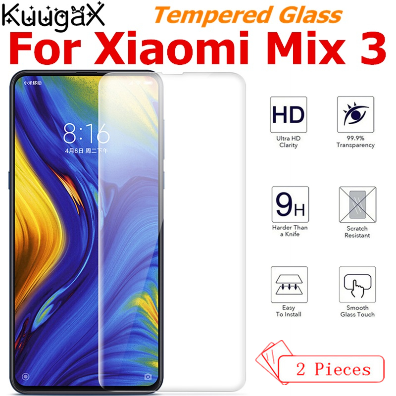 2Pcs Tempered Glass For Original <font><b>Xiaomi</b></font> <font><b>Mi</b></font> Mix 3 <font><b>6GB</b></font> RAM <font><b>128GB</b></font> ROM mix3 smart phone Screen Protector Film on Toughened display image
