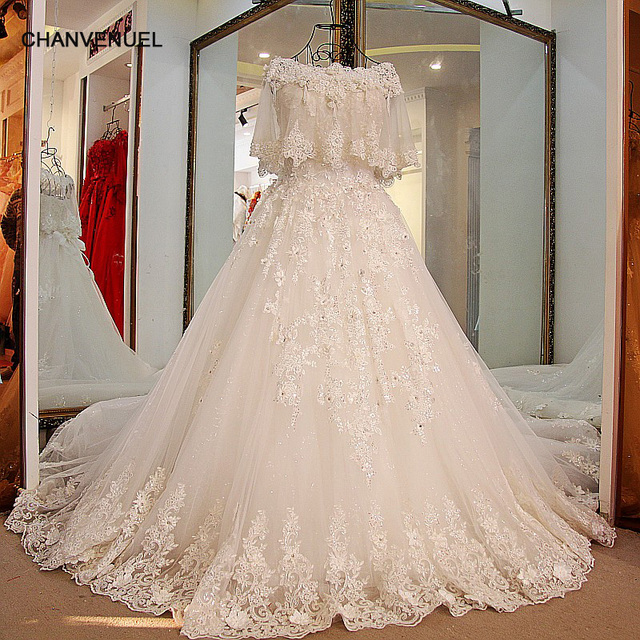 Ls15470 Modest Bridal Wedding Dress Lace Ball Gown Corst Dress