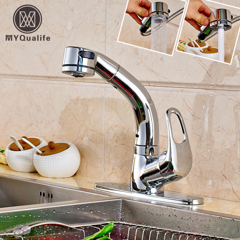 Luxury Pull Out Bathroom Kitchen Faucet Deck Mounted 6 Decrate Cover Plate Single Handle Hot and