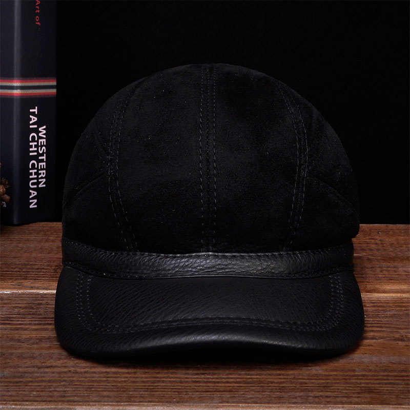 HL034 Men's baseball caps hats genuine leather brand new real leather cap hat one fur with real fur inside aorice autumn winter men caps genuine leather baseball cap brand new men s real cow skin leather hats warm hat 4 colors hl131