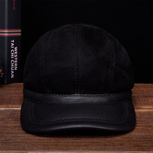 HL034 Mens baseball caps hats genuine leather brand new real cap hat one fur with inside