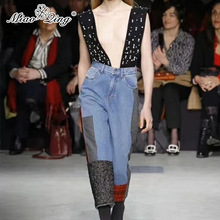 MIAOQING 2018 Winter High Waist Pants Jeans Women Beaded Pearl Denim Overalls Patchwork Plaid Wool Loose Laides Wide Leg Jeans
