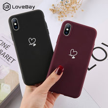 Lovebay Warna-warni Cinta Heart Case untuk iPhone 6 6S 7 7 Plus 11 Pro X XR X Max 5 5 S SE Permen Warna Ponsel Case Lembut TPU Back Cover(China)