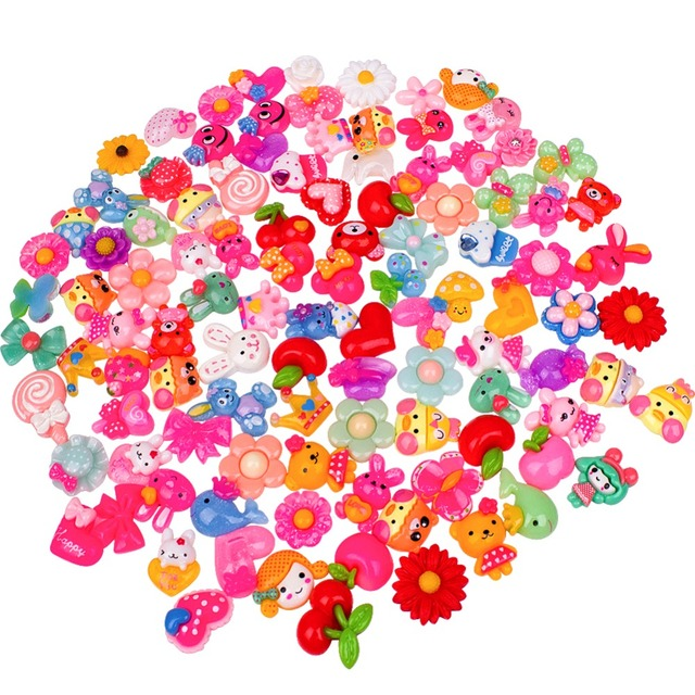 100 Pes Slime Charms Mixed with Cartoon Animal Fruit Flower Resin Flatback Slime Beads for Scrapbook Phone DIY Craft Decoration