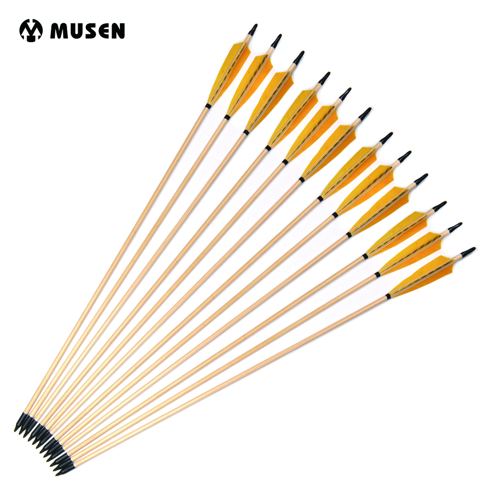 31 Wooden Arrow with Yellow Turkey Feather for Hunting Long Bow Recurve Bow Archery 1 piece hotsale black snakeskin wooden recurve bow 45lbs archery hunting bow