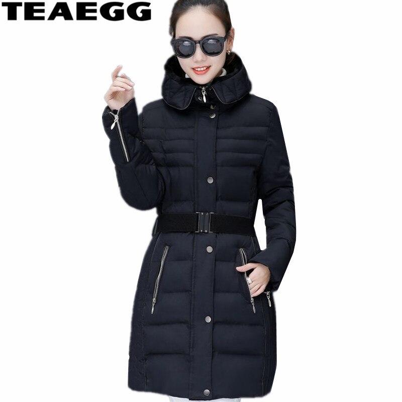 TEAEGG grande taille 5XL coton veste rembourrée Hiver femmes vêtements noir Parka Femme Hiver chaud Femme manteaux d'hiver et JacketsAL511