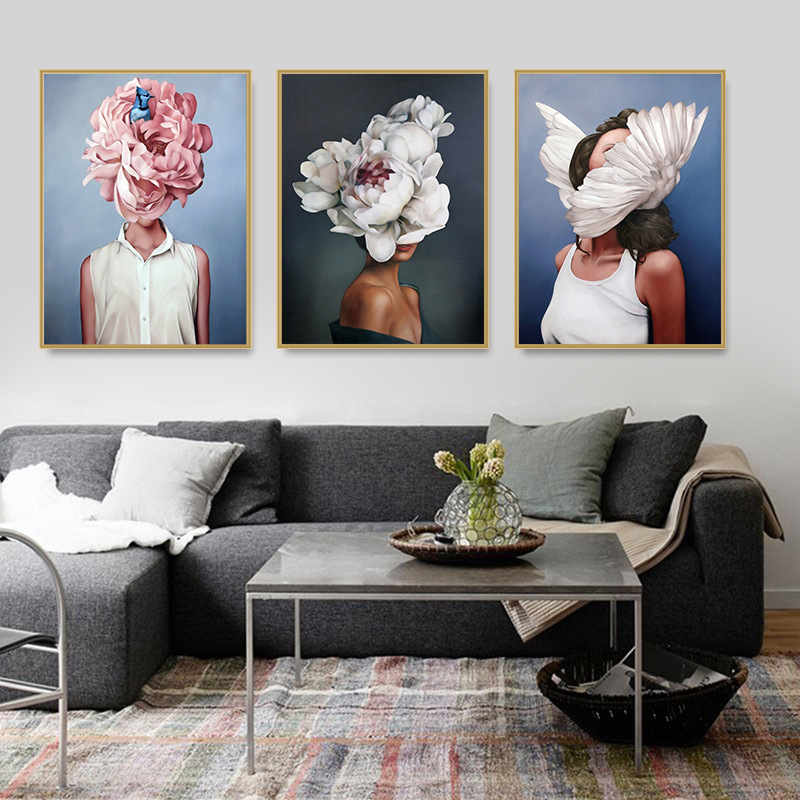 Modern Figure Lady Head Flower Picture Home Decor Nordic Canvas Painting Wall Art Posters and Prints Decor for Bedroom Dorm Room 2