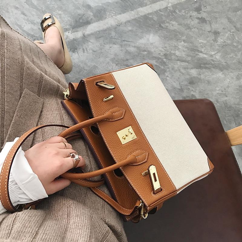 [Hely Coptar]Cowhide Patchwork Canvas Retro Female Handbag Women Shoulder Bags Fashion Designer Top Handle luxury Designer Bag