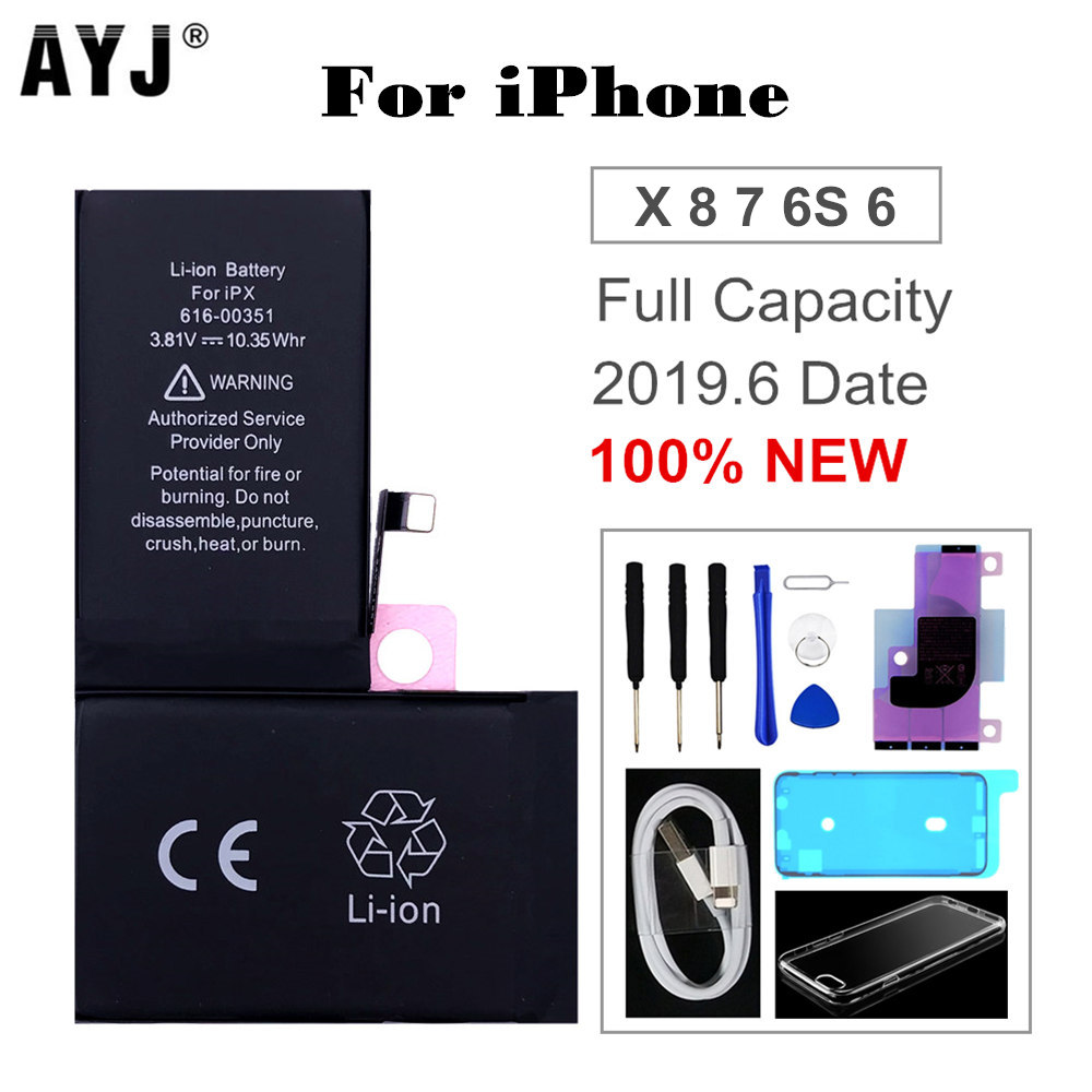 1 AYJ Original Battery for iPhone X 7 Plus 8 6S 6 Replacement Real High Capacity Mobile Phone Batteries Free Tools Usb Cable