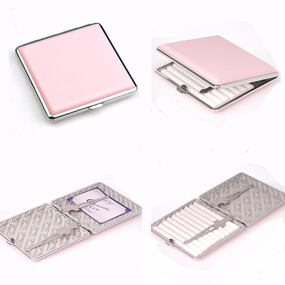 Moda metal fino cigarro caso caixa de segurar para a senhora 20 pçs cigarros de tabaco caixa de armazenamento genuíno ultra fino caixa de fumaça de metal