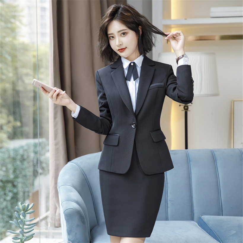 New Elegant Business Skirt Suit Women Autumn Formal Long Sleeve Slim Career Blazer And Skirt Office Ladies Plus Size S-4XL