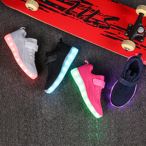 Image 5 - Size 25 37 Children Glowing Sneakers Kid for Boys Girls Shoes with Light up luminous sole canvas shoes luminous led slippers