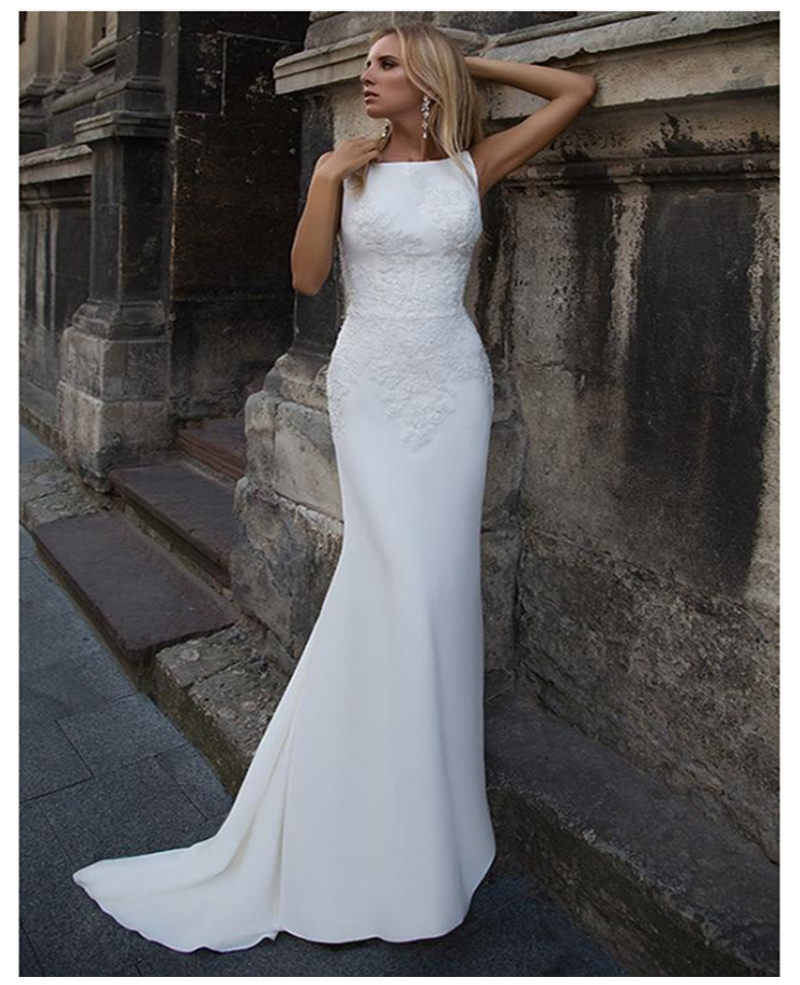 LORIE 2019 Mermaid Wedding Dresses Soft Satin Appliques Lace Beach Bride Dress Sexy Back Wedding Gown Hot Sale-in Wedding Dresses from Weddings & Events