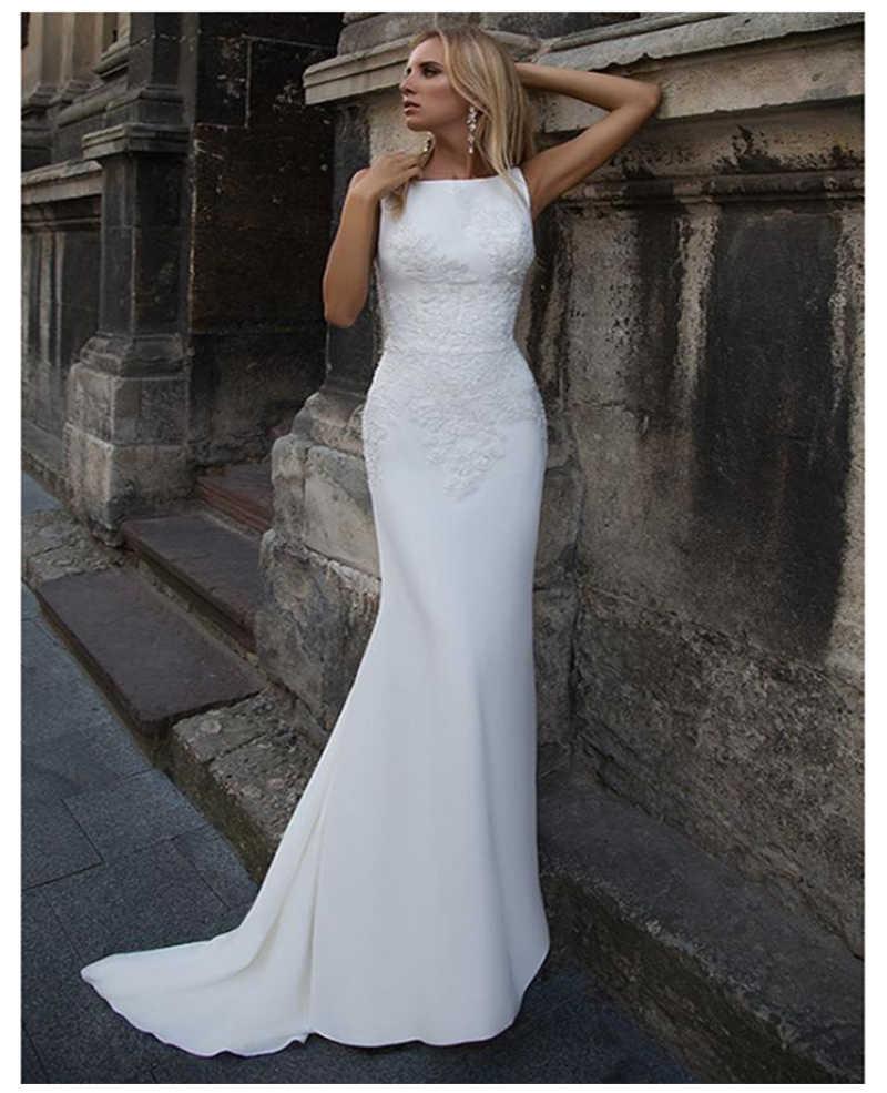 Lorie 2019 vestidos de casamento sereia apliques de cetim macio rendas praia vestido de noiva sexy voltar vestido de casamento venda quente