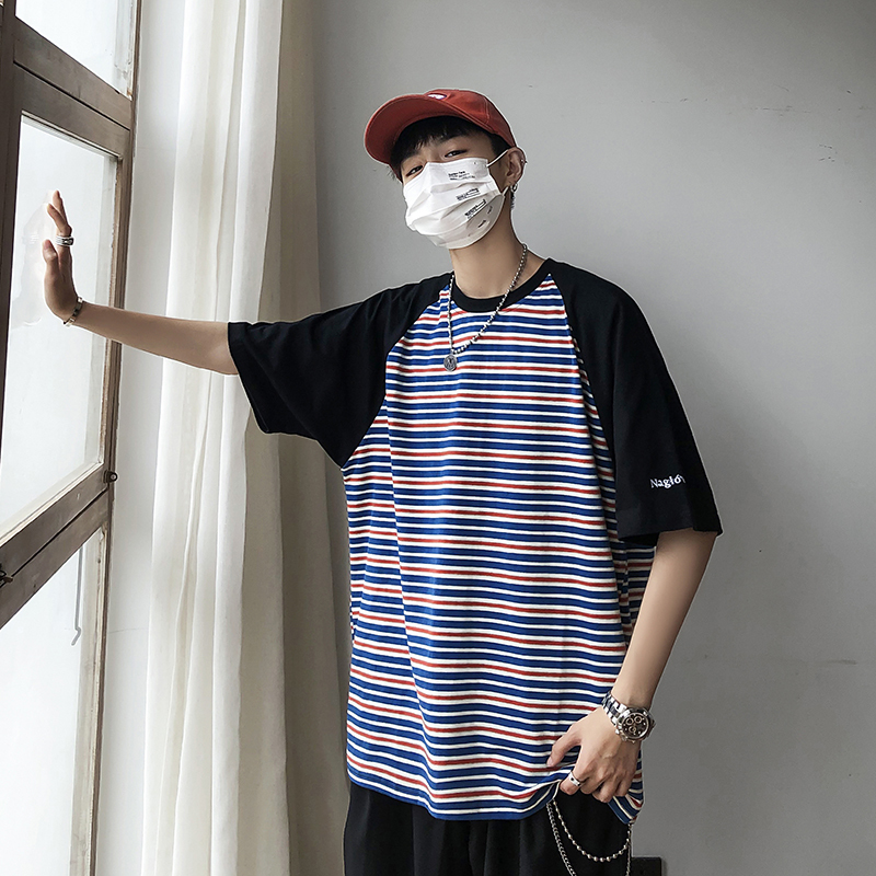 Summer New T Shirt Men Fashion Striped Casual Short sleeved Tshirt Man Streetweart Trend Wild Hip hop Loose Cotton T shirt in T Shirts from Men 39 s Clothing