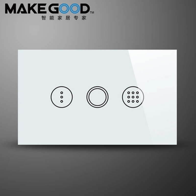 MakeGood US Standard Crystal Glass Touch Cover Timer Wall Switch, AC110-240V, Light Time Delay Smart Switch, Smart Wall switch 2017 smart home crystal glass panel wall switch wireless remote light switch us 1 gang wall light touch switch with controller