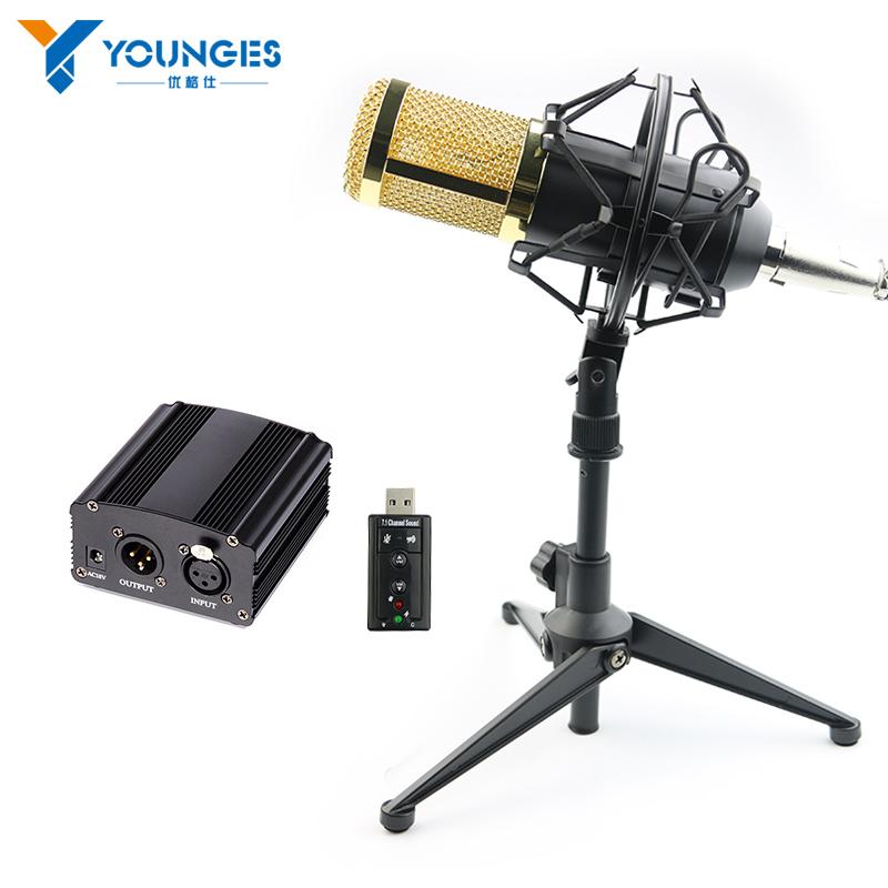 Prix pour Professionnel Microphone À Condensateur BM800 Condenseur KTV Microphone Pro Audio Studio Vocal Enregistrement Mic Karaoké 48 V alimentation fantôme