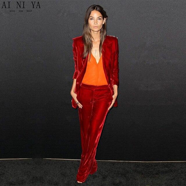 New Formal Red 2 piece set women business suits velvet female trouser suits ladies office uniform elegant pant suits CUSTOM