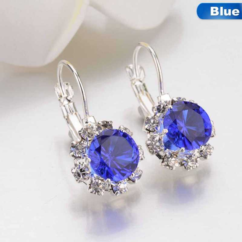6 Colors Big Crystal Stone Rhinestone Drop Earrings Cube Zirconia Cuff Earring For Women Jewelry Pendientes Mujer Dropshipping