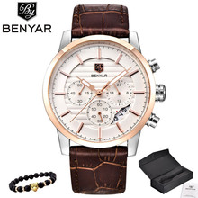 BENYAR Men Watch Top Brand Luxury Quartz Watch Mens Sport Fashion Analog Leather Strap Male Wristwatch New Waterproof Clock