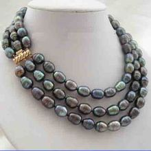 Stunning 3 Rows 11-13mm Black Rice Freshwater Cultured Pearls Necklace,Genuine Pearl Jewellery,18-20inches,New Free Shipping new arriver real pearl jewellery 48inches 4 16mm gray rice freshwater pearls smoke crystal beads necklace free shipping