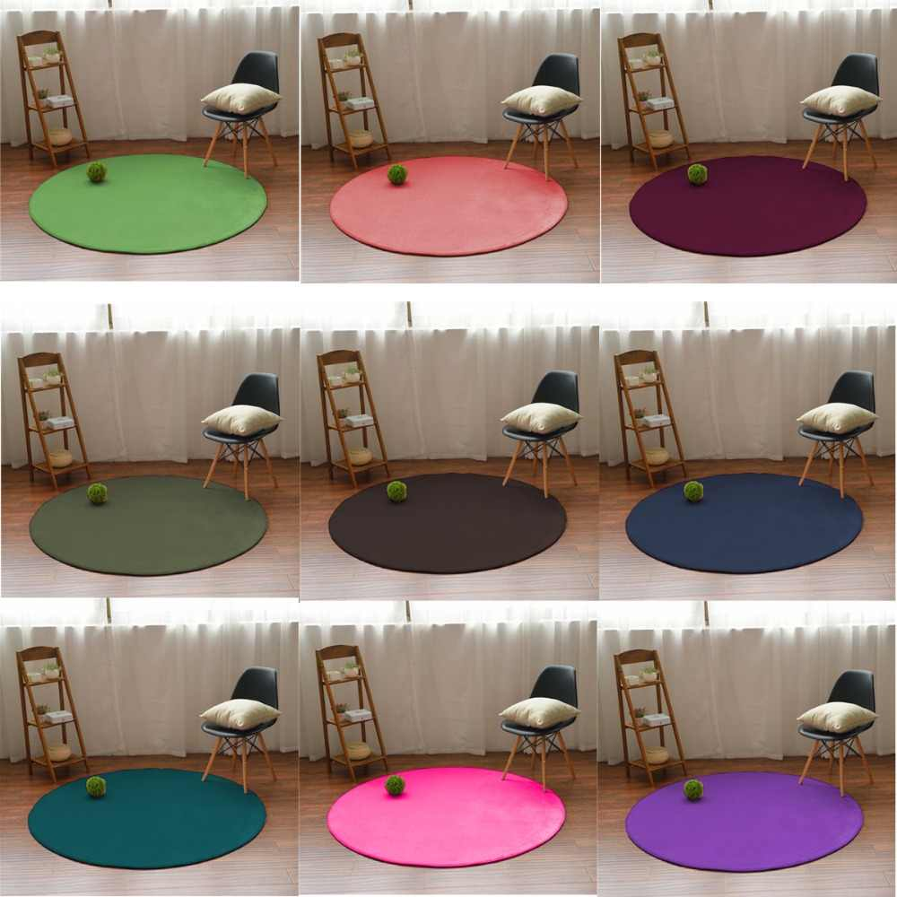 Round Thicken baby anti-fall bedside carpet crawling mat tatami blanket bedroom living room bay window coral velvet carpet