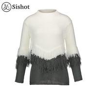 Sishot Women Casual Knitwear 2017 Autumn Winter White Color Block O Neck Patchwork Tassel Loose Long