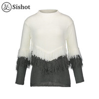 Sishot Women Casual Knitwear 2017 Autumn Winter White Color Block O Neck Patchwork Tassel Loose Long