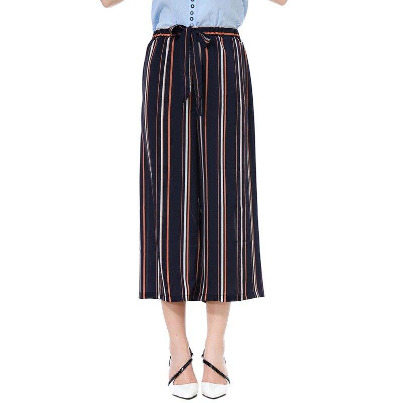 Brand New Fashion Women High Waist Stripe   Wide     Leg     Pants   Women Calf-Length Drawstring Trousers Fashion Streetwear Casual   Pants