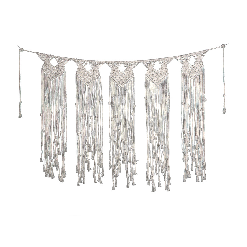 Cotton Woven Tassel Tapestry Party Rustic Wedding Decoration Macrame Wall Handmade Hanging Tapestry Home Hotel Decoration(China)