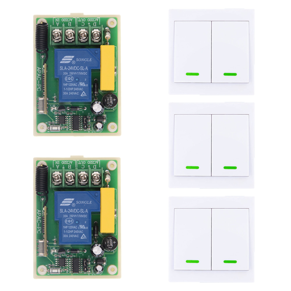 AC 220V 30A Relay 1 CH 1CH RF Wireless Remote Control Switch System+ 3 X 2CH Wall Panel Decoration Transmitter 315 433.92 MHz new ac 220v 30a relay 1 ch rf wireless remote control switch system toggle momentary latched 315 433mhz