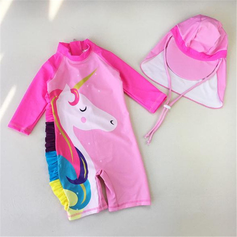 Hot sale Children Swimsuit Unicorn Cosplay Costumes Girl Hot spring Sunscreen Jumpsuits Long sleeves Swimwear Pink Set For Kids