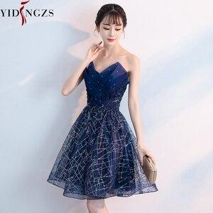 Image 2 - Short Evening Dress YIDINZGS Navy Blue Sequins Pleat V neck Formal Evening Party Dress