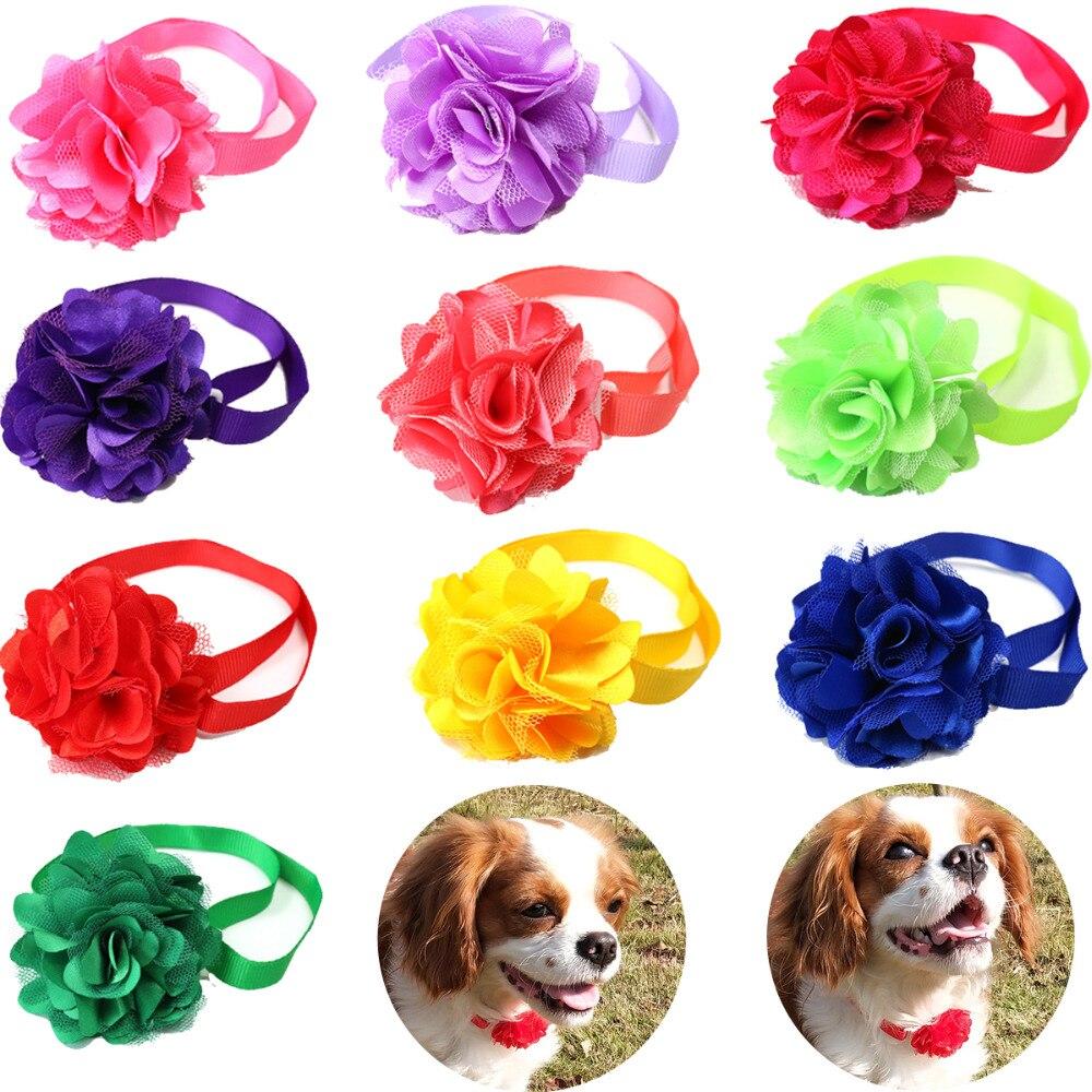 Spring 100PCS Lot Pet Puppy Dog Cat Bow Ties Adjustable Bright Color Chiffon Flower Ball Dog